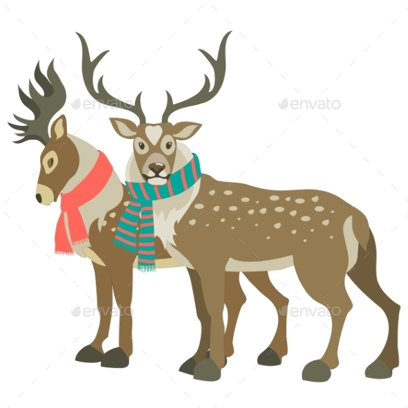 Two Reindeer - Animals Characters