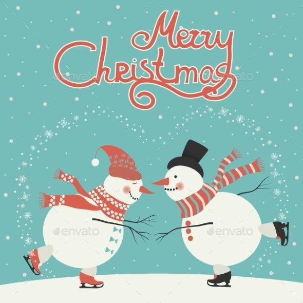 Ice Skating Cartoon Snowmen  - Christmas Seasons/Holidays