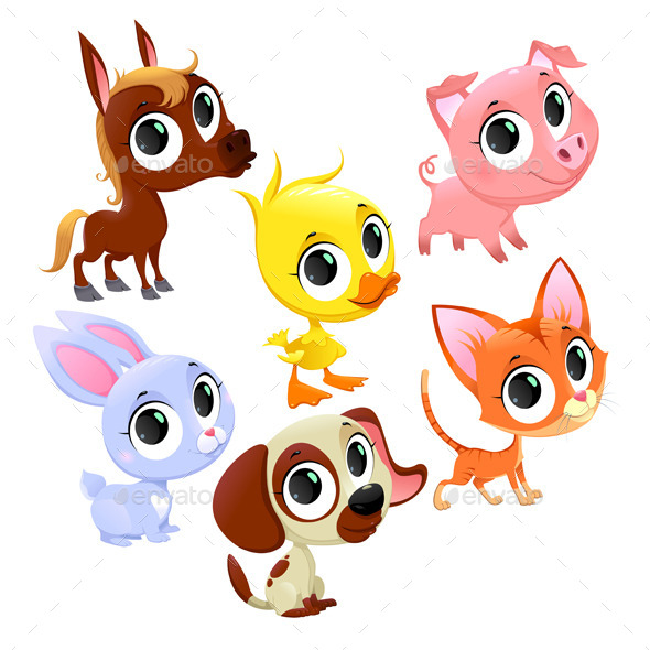 Farm Animals and Pets - Animals Characters
