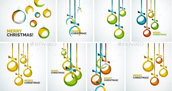 Merry Christmas modern cards - abstract baubles - Christmas Seasons/Holidays