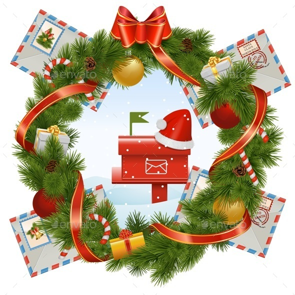 Christmas Wreath with Mailbox - Christmas Seasons/Holidays