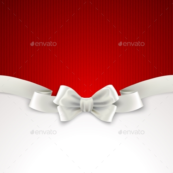 Red Christmas Background with White Silk Bow - Christmas Seasons/Holidays