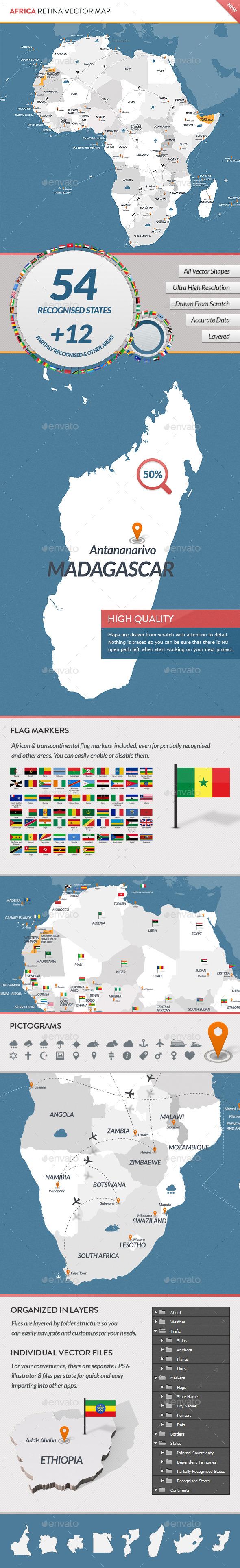 Africa Retina Vector Map - Miscellaneous Vectors