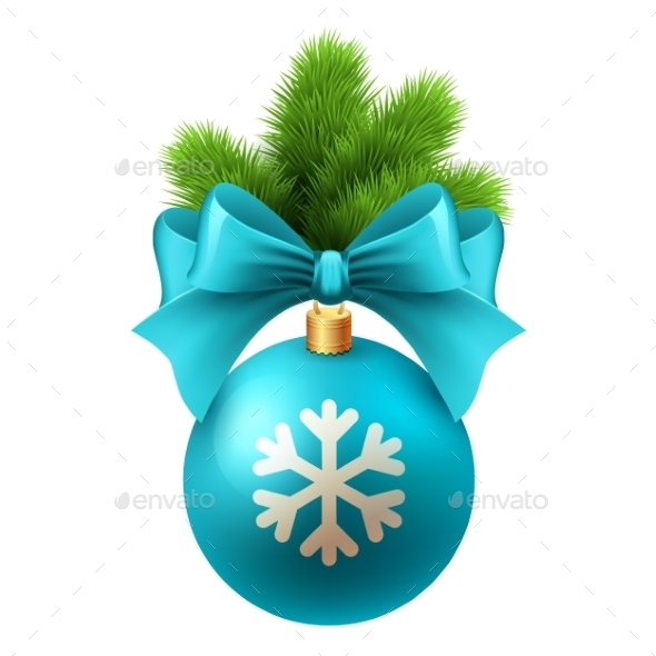 Merry Christmas Card with Blue Bauble - Christmas Seasons/Holidays