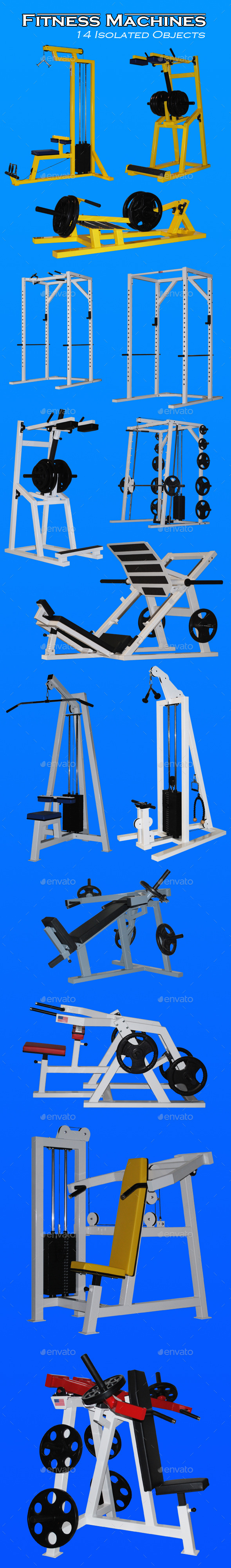 Fitness Machines - Activities & Leisure Isolated Objects
