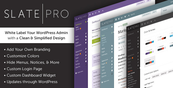 Slate Pro - WordPress White Label Admin Theme - CodeCanyon Item for Sale