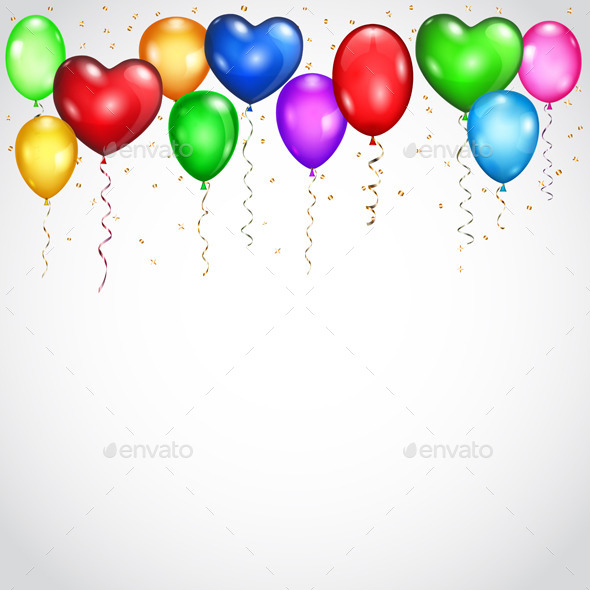 Background with Colored Balloons - Miscellaneous Seasons/Holidays