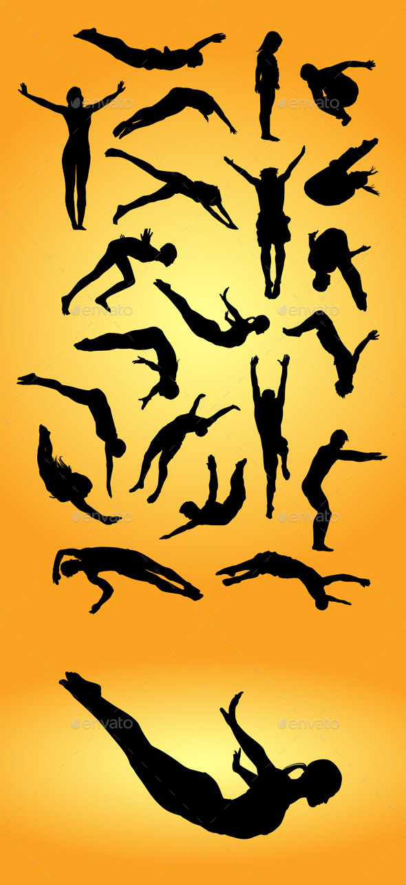 Jump Dive Sport Silhouettes - Sports/Activity Conceptual