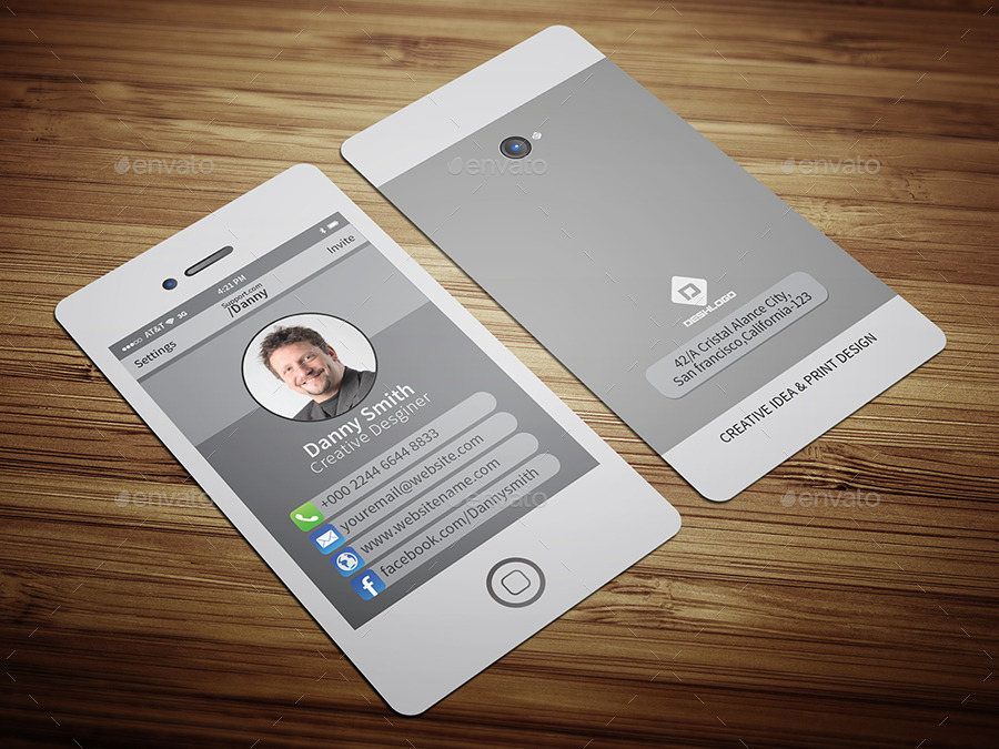 Stylish Smartphone Business Card-2 by CRISTAL_P | GraphicRiver