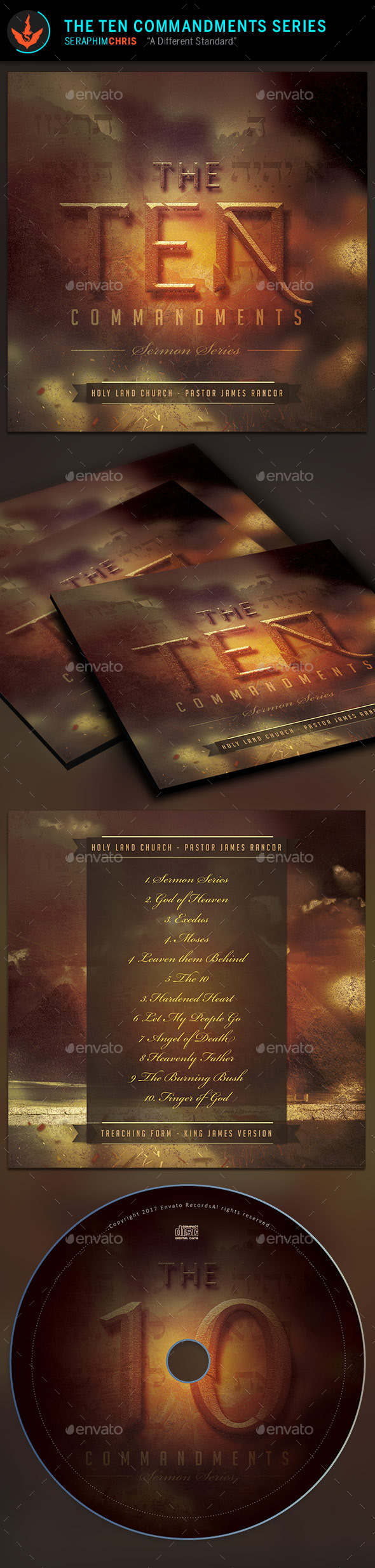 10 Commandments Series: CD Artwork Template - CD & DVD Artwork Print Templates