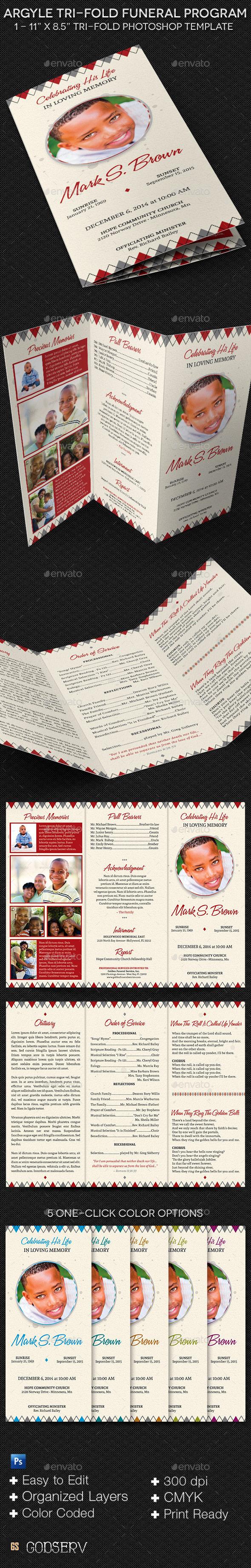 Argyle Tri-Fold Funeral Program Template - Informational Brochures