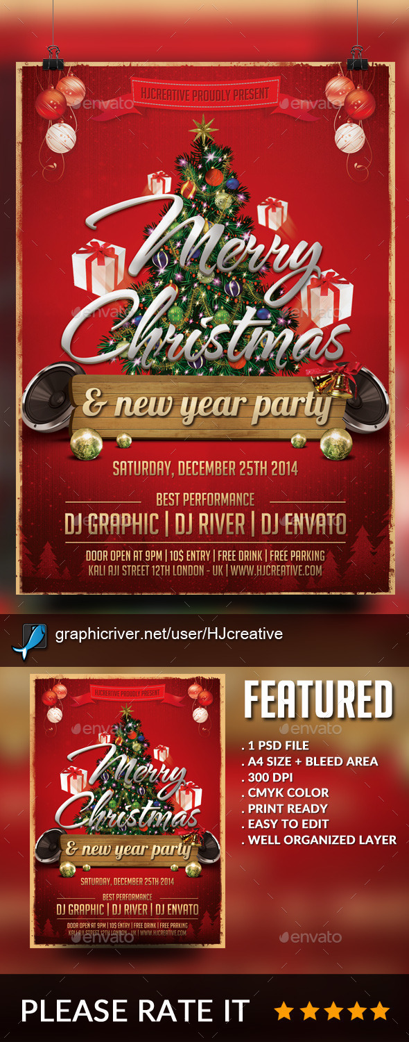 Merry Christmas Poster Flyer Template Vol. 1 - Clubs & Parties Events