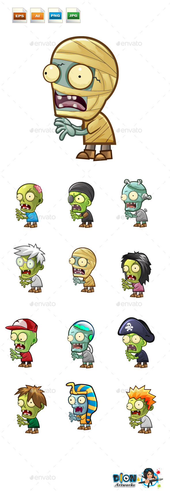 Cartoon Zombies Pack - Characters Vectors