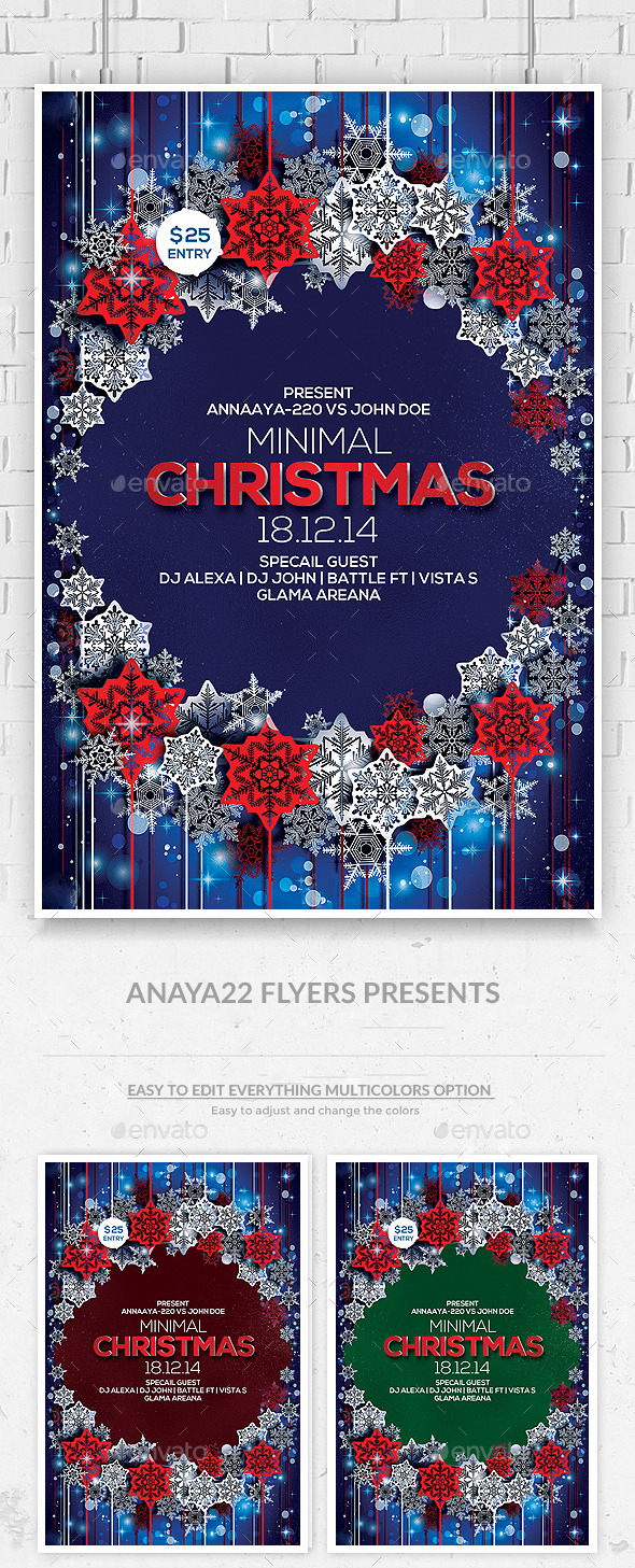 Christmas and Winter Party Flyer Psd Template - Clubs & Parties Events