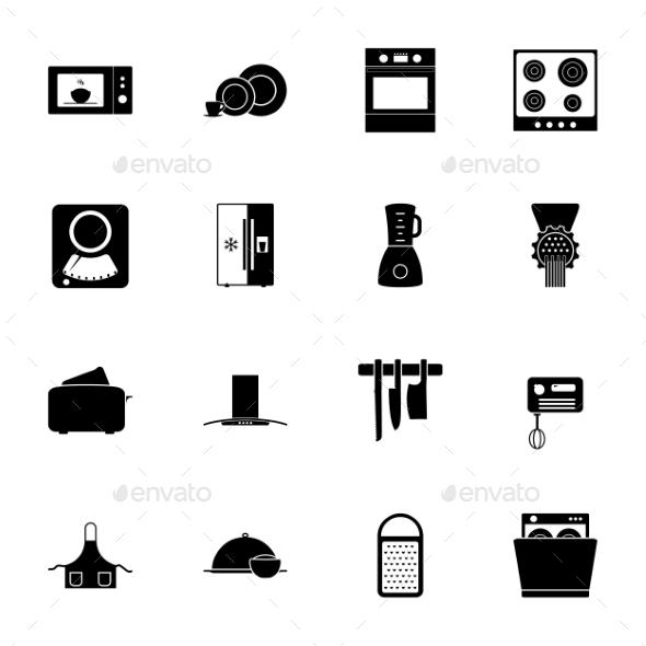 Kitchen Silhouettes Icons Set - Web Elements Vectors