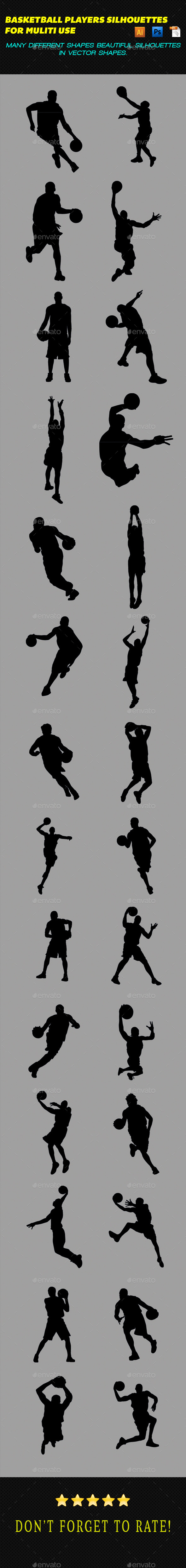 Basketball Players Silhouettes - Sports/Activity Conceptual