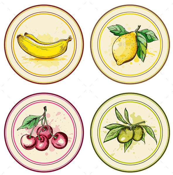 Vintage Labels with Fruits - Food Objects