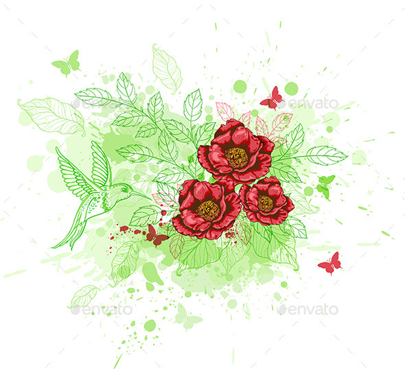 Abstract Background with Red Flowers - Flowers & Plants Nature