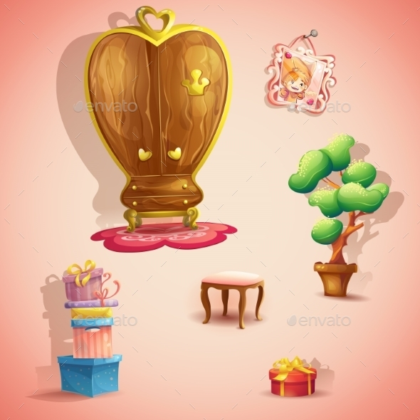 Set of Furniture and Items for the Doll Princess - Birthdays Seasons/Holidays