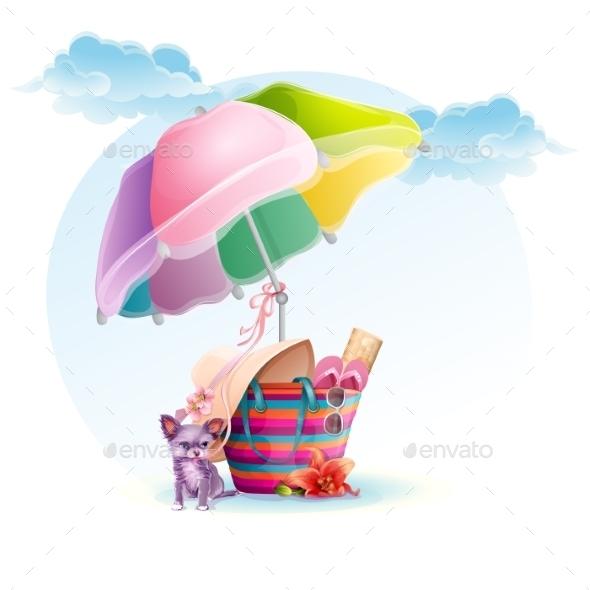 Beach Bag with an Umbrella and a Dog - Decorative Symbols Decorative