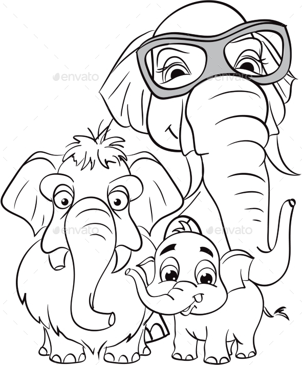 Outline Drawing of a Family of Elephants - Decorative Symbols Decorative