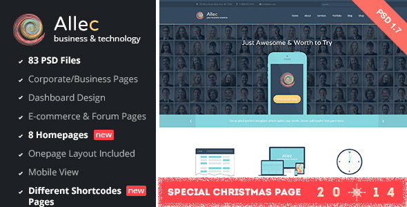 Allec – Business & Technology PSD Template
