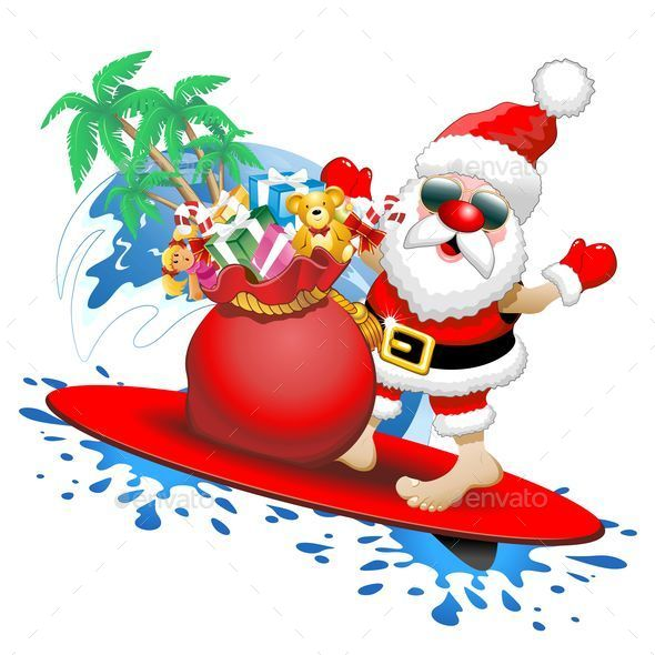 Santa Claus Surfer Cartoon - Christmas Seasons/Holidays