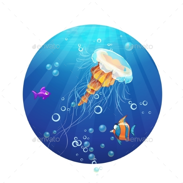 Cartoon Image of a Jellyfish and Sea Fish - Animals Characters