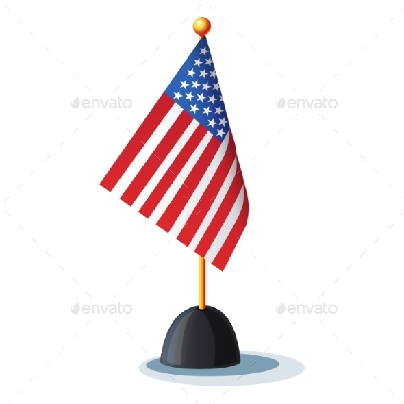 American Flag on a Stand - Man-made Objects Objects