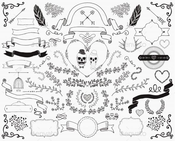 Hand-Drawn Doodle Design Elements - Decorative Vectors