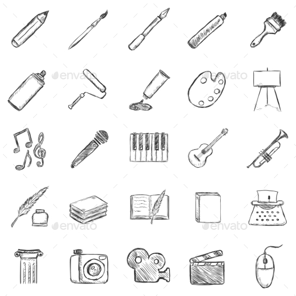 Set of Sketch Art Icons - Miscellaneous Conceptual