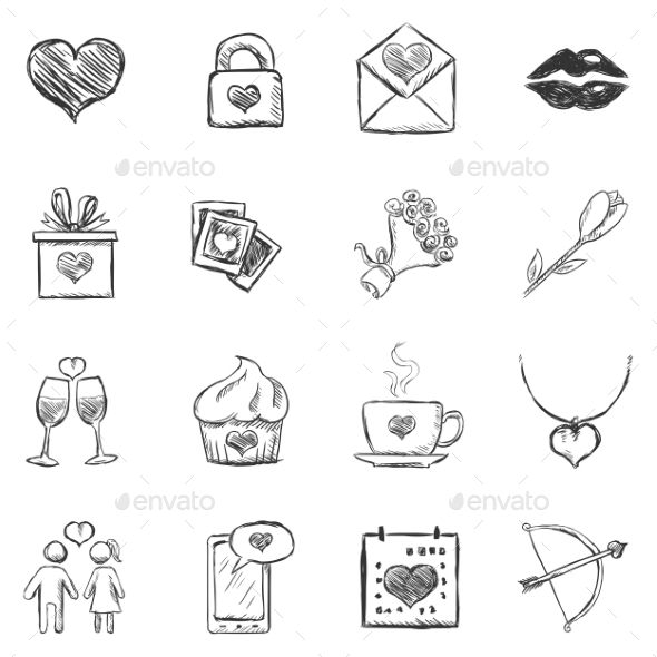 Set of Sketch Valentine Icons - Valentines Seasons/Holidays
