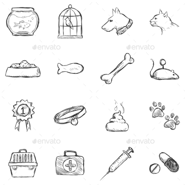 Set of Sketch Pets Icons - Miscellaneous Conceptual