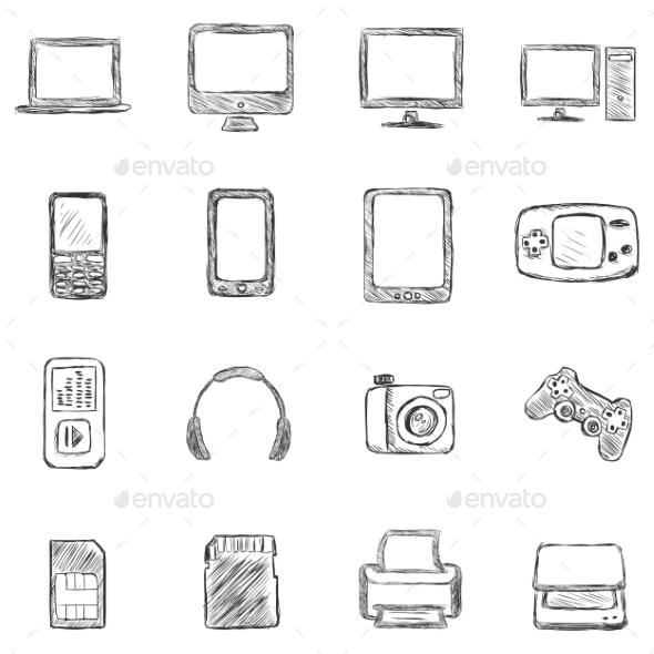 Set of Sketch Computer Devices Icons - Computers Technology