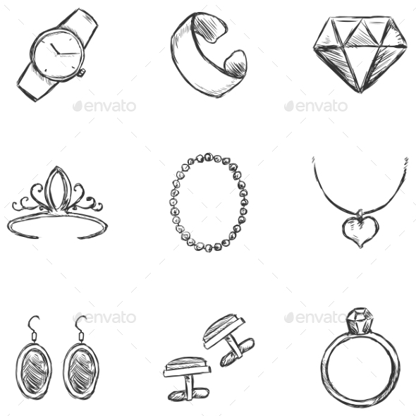 Set of  Sketch Jewelry Icons - Retail Commercial / Shopping