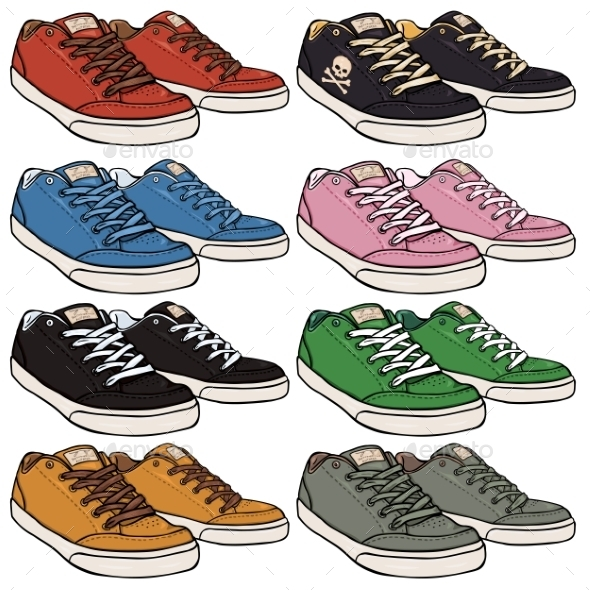 Set of Cartoon Skaters Shoes - Man-made Objects Objects