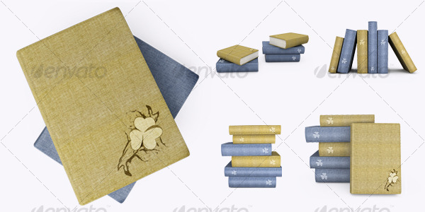 Blue and yellow books. 3D illustration - Objects 3D Renders