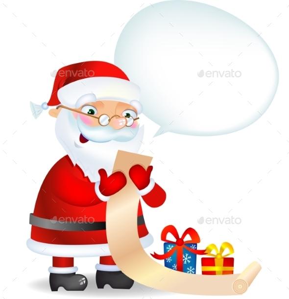 Santa Claus Checking his List  - Christmas Seasons/Holidays