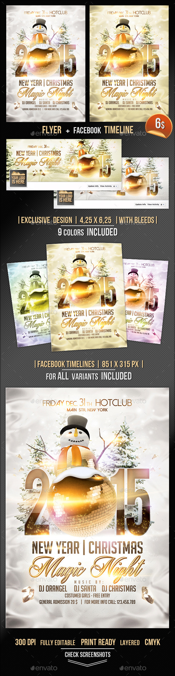 Magic Christmas Flyer + Fb Timeline Template - Events Flyers