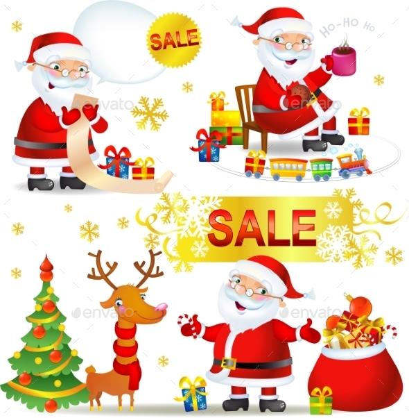 Set Christmas Sale with Santa Claus - Christmas Seasons/Holidays