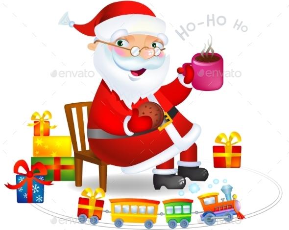 Santa Claus with Tea and Cookies - Christmas Seasons/Holidays