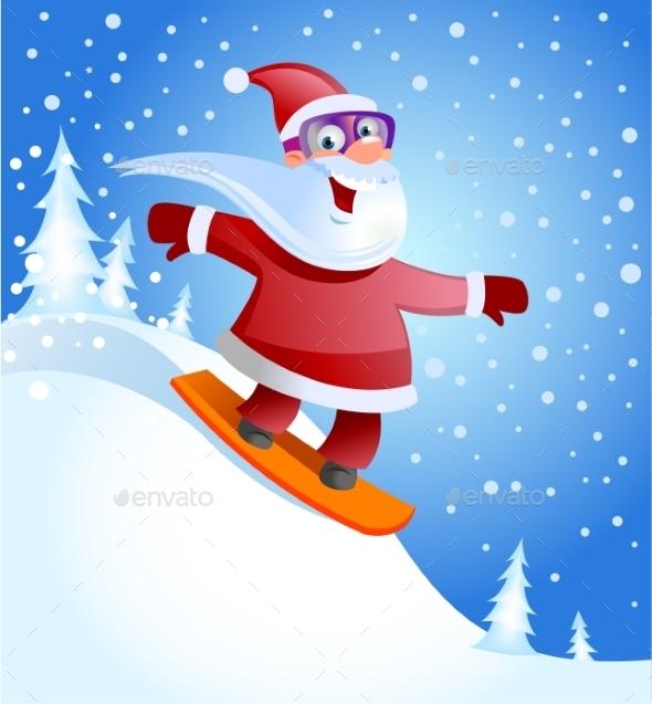 Santa Claus on Snowboard  - Christmas Seasons/Holidays