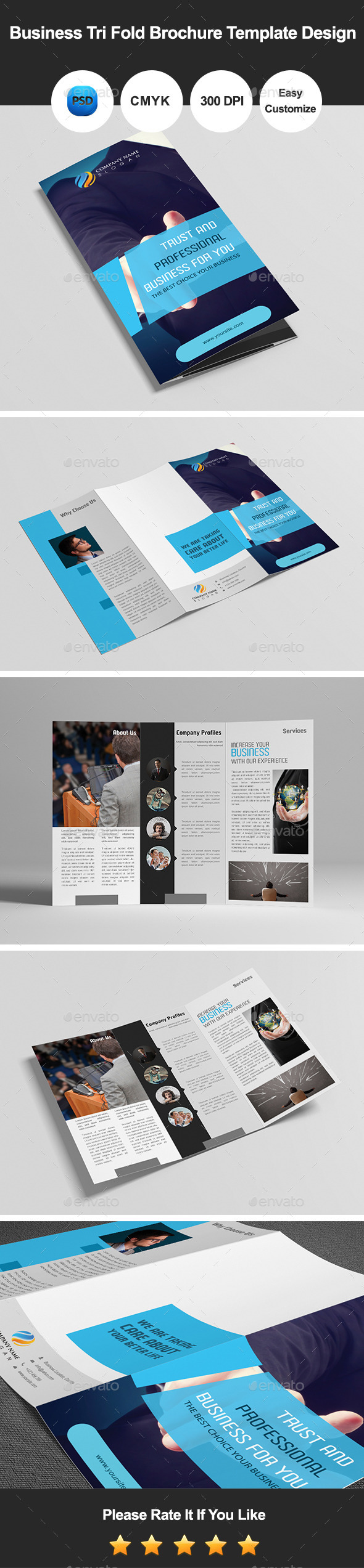 Business Tri Fold Brochure Template Design - Corporate Brochures