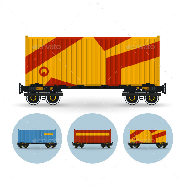 Set of Railway Containers  - Industries Business