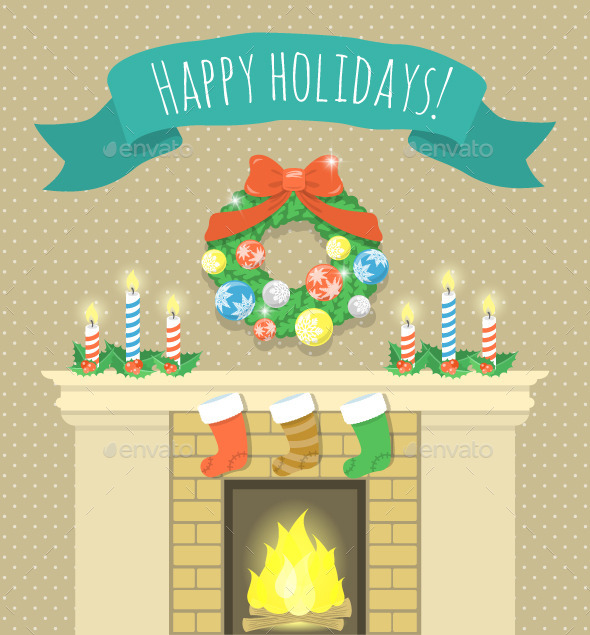 Christmas Fireplace Illustration with Ribbon - Christmas Seasons/Holidays