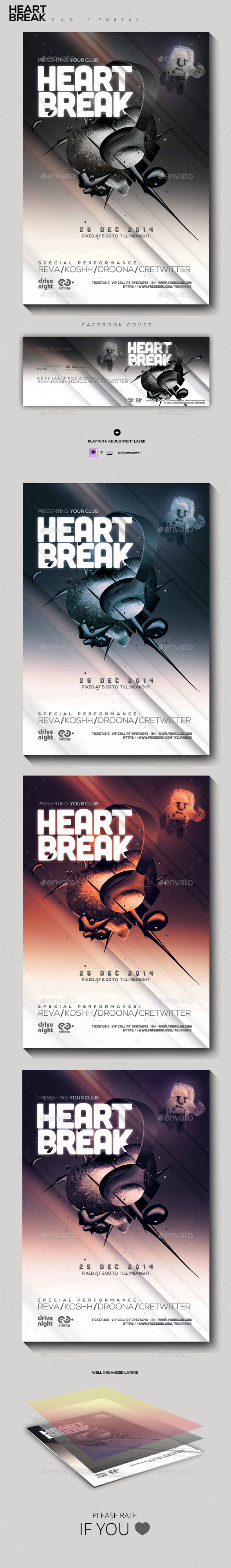 Heart Break Party Flyer - Clubs & Parties Events