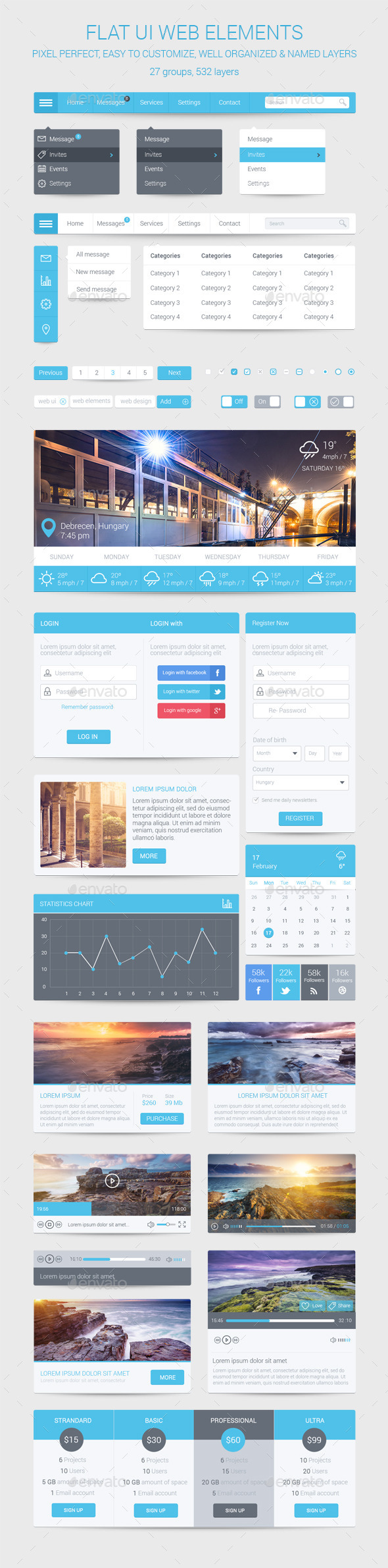 Flat UI Web Elements - User Interfaces Web Elements