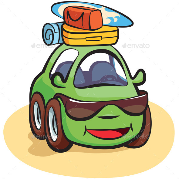 Traveling Car Cartoon - Man-made Objects Objects