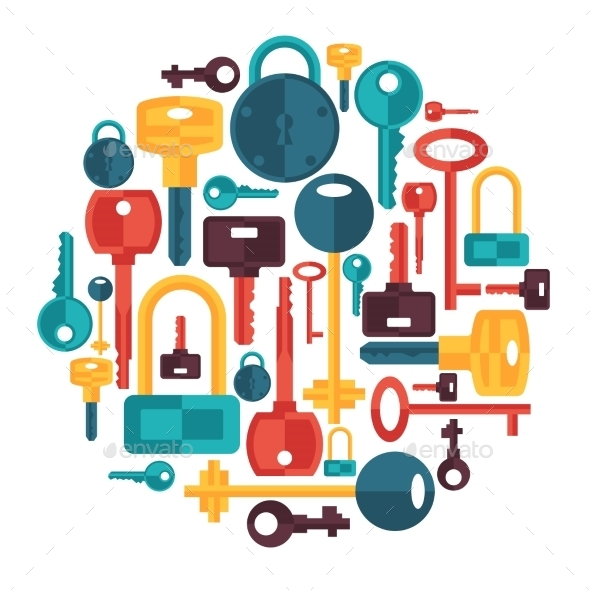 Background Design with Locks and Key Icons - Industries Business