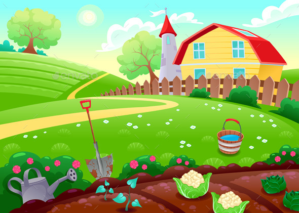 Countryside Scenery with Vegetable Garden - Landscapes Nature